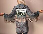 Led Zeppelin Upcycled Hippie Tapestry Print Fringe Jacket Coat