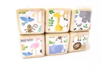 Wood Baby Blocks. Jungle Animals. ZOO Animals. Baby Shower Decoration. Childrens TOY. Unisex Toddler gift