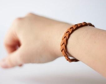Braided Leather Bracelet / Terra Cotta