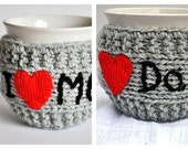 Set of 2, Knitted Mug Cozy, red heart, grey color,  I love Mom, I love Dad, travel cup cozy, Personalized Mug Cozy, Christmas gift