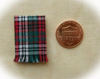 Miniature woven kitchen towel - Christmas plaid 1:12 scale