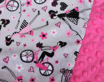 Travel Pillowcase - Paris Girl Print Minky with Hot Pink Dimple Dot Minky Border - great for a Toddler or Travel Pillow