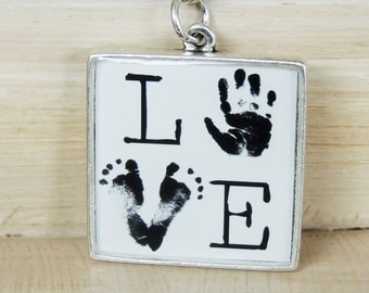 Personalized Keychain - Baby Footprint - Baby Footprints - Child's Footprints - Hand Print Keychain - Mother's Day - Father's Day - New Baby