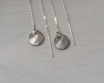 20% off plus Free Shipping - Ear Threader/Ear Thread Earrings: Brushed Sterling Silver Disc Dangle Earrings