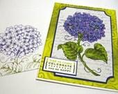 Purple Hydrangea Handmade Birthday Card