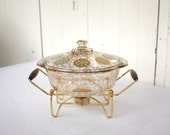 Retro Fire King Atomic Casserole Dish, Buffet Server Casserole, Gold and Turquoise, Casserole Dish with Warmer Stand