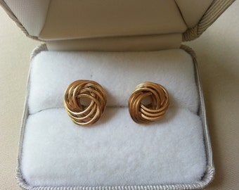 vintage knotted 14k yellow gold earrings