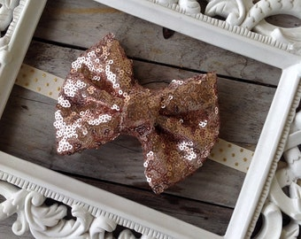 Big Rose Gold Sparkle Bow Headband Baby Girl Headbands Baby Headbands Gold Glitter Headbands Photography Props Newborn Headbands Big Bows