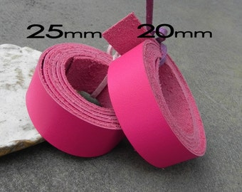 1 Yard (900X20mm) or (900x25mm) Pink Cowhide Lace Strap, Genuine Leather Strap