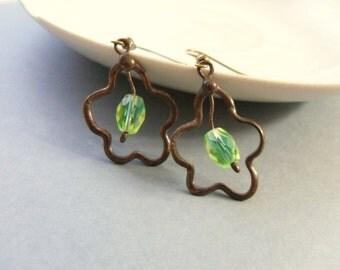 Copper wire earrings, green beaded jewelry, bohemian wire jewelry, things that shine, gift for women, contemporary earrings, Amoeba
