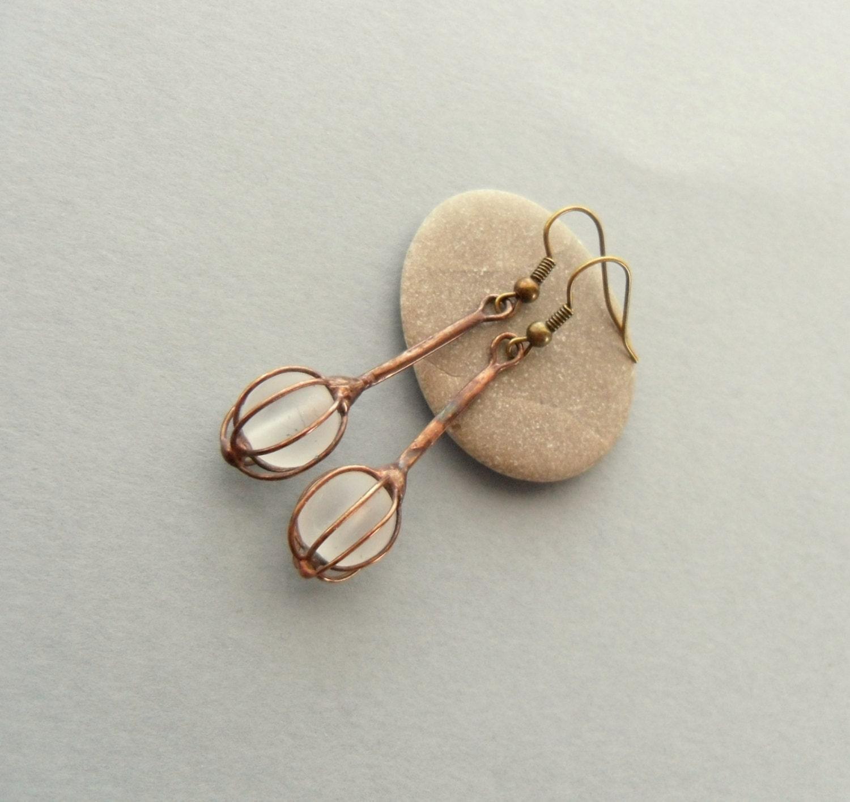 wire earrings white beaded earrings copper wire jewelry
