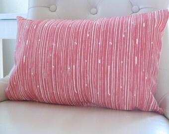 Stripe Pillows, Coral Lumbar, Decorative Pillow Cover,Coral White Pillow Cover,Coral Pillows, Pink Pillows,Kid Bedding,Chair Pillows