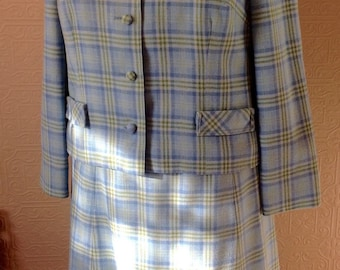 Sweet Pendleton wool suit in sky blue and green plaid.