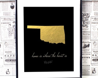 Oklahoma State - Oklahoma City - Oklahoma Map - Oklahoma Wall Art - State Artwork- Wall Art Print- New Home Gift- Typography Print- Dorm art