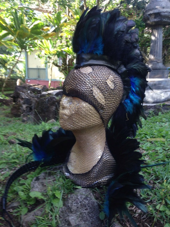 "Customizable Feather Mohawk ""Lewa Lani""  -  Burning man, mad max, cosplay, festivals, symbiosis"