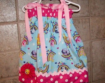 Rainbow My Little Pony...Girls Pillowcase Dress Infant toddler sizes 0-6, 6-12, 12-18, 18-24 months, 2T, 3T..Bigger sizes AVAILABLE
