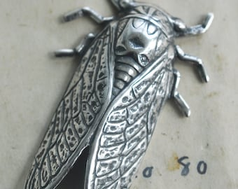 Cicada brass stamping, Sterling Silver Finish