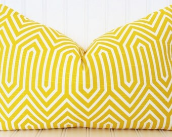 Yellow Pillow, Throw Pillow, Decorative Pillow Cover, Yellow White Pillow, Yellow Cushions, Cushion Covers