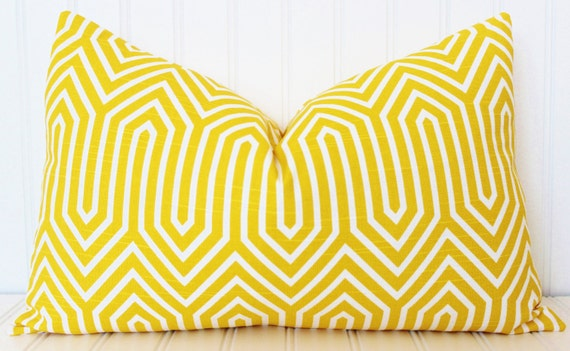 Items similar to Yellow Pillow, Throw Pillow, Decorative Pillow Cover, Yellow White Pillow ...