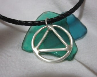 AA STERLING Silver Symbol on Leather for Him
