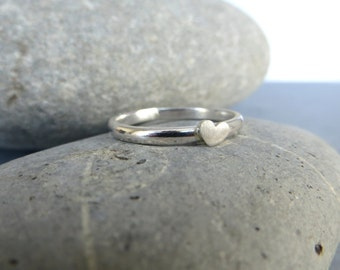 Sterling Silver Heart Ring, Tiny Heart Ring, Silver Stacking Ring, Small Silver Heart, Silver Jewellery UK Seller, All sizes made to order.
