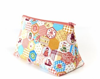 Girls Toiletry Bag Patchwork Pastels Fabric Womens Cosmetic Purse