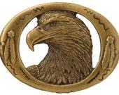 Belt Buckle Eagle Head carved by artist Paula Freed western vintage brass finish 1993