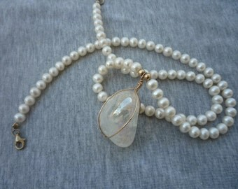 White Freshwater Pearls Necklace  with  Angel Aura Crystal Quartz pendant.