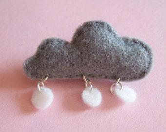 Handmade Felt Snowcloud Brooch