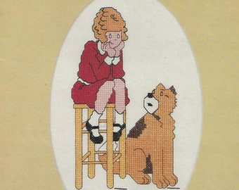 Cross Stitch Pattern, Orphan Annie Cross Stitch Pattern, Vintage Pattern