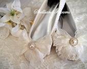 Wedding Bridal Ballet Flat Shoes - Vintage chic ivory white lace - Rhinestone Pearls - bridesmaids - eyelet trim - Shabby Lace Bow