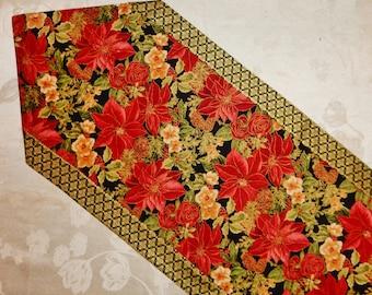Poinsettia Table Runner Christmas Decor Gift