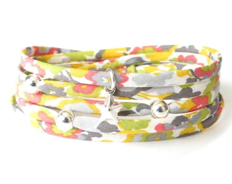 Liberty fabric wrap bracelet in yellow, coral and spring green, birthday gift for best friend, Sterling silver beads & star charm
