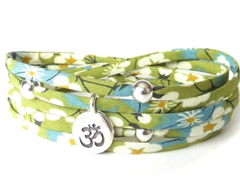 Spring green Yoga bracelet with Ohm charm, Liberty fabric ribbon wrap, Yoga jewelry gift for sister, meditation bracelet for women
