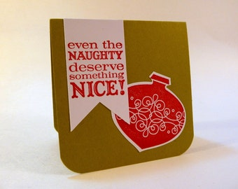Holiday Mini Cards, set of 6, 3 inch square, folded Christmas gift tags with envelopes, Naughty Nice, hand stamped cards
