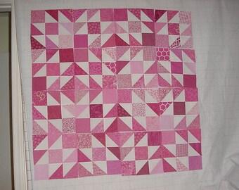 Set of 16 nine inch Pink Quilt blocks squares