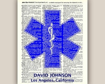 EMS  print, PERSONALIZED  Print, Health  care, Emergency medical services, medical tecnitian, paramedic, clinician, physician art,