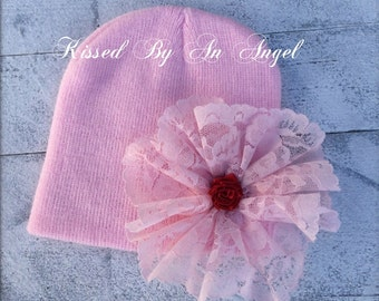 Girls winter shabby chic lace hat for babies,newborn photo prop,portraits,baby shower gift, sweet little valentines