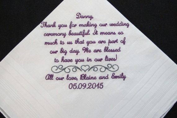 Embroidered Wedding Handkerchief for the officiating Minister
