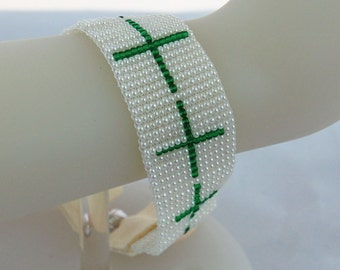 Green Cross Pearl Seed Bead Hand Loomed Cuff Bracelet