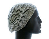 Linen - Rayon Slouchy Hat, Men's Silver Gray Crocheted Beanie, Medium to Large Size