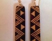 Ohe Kāpala Lauhala/Niho Manō Design Bamboo Earrings