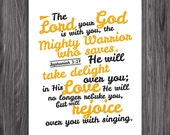 Zephaniah 3:17. Rejoice over you. 8x10. PDF. DIY Printable Christian Scripture Poster. Bible Verse.
