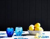 Blue and Blue Ikat spot linen tablecloth