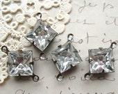 10mm Square Vintage German Crystal Connectors Prong Set 2-Loop Brass Ox Findings (4)