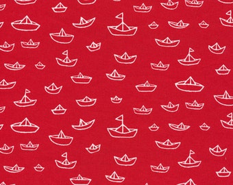 Cloud9 Organic Fabrics - Seven Seas - The Fleet Red 1/2 YD