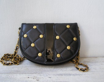 Retro Leather Like Black Handbag, Brass studded Chain Handle Purse Bag, Small Cross Body Messenger Bag Embellished Women retro Fashion Purse