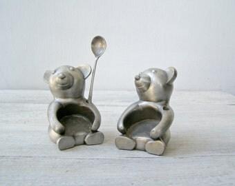 Vintage Teddybear Figurines, Salt Pepper Base, Kitchen Desk Decoration, Jam Dish Base, Breakfast Tableware, Stocking Stuffers, Teddy Bear