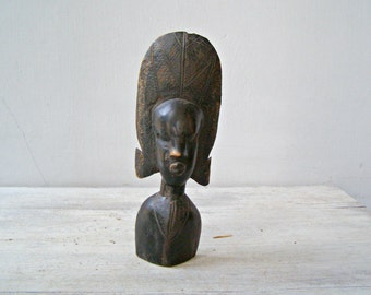 Handcarved African woman Bust Sculpture, Dark Brown Tribal Primitive Woodworking Engraved Head Statue, Collectible Feminine Art Woman Gift