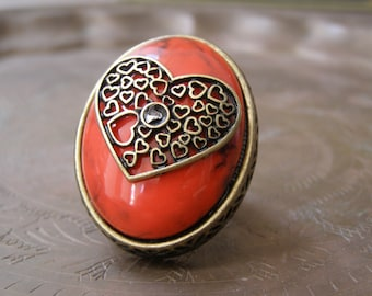 Boho Bold Heart Ring, Vintage adjustable statement Oval Deep Red Ring Size 7 8 Brass Base, Funky Romantic Gift , 80s Chunky Everyday Jewelry